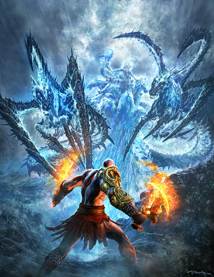 God of War III- Poseidon Fight by andyparkart