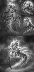 God of War III-Poseidon sketch by andyparkart