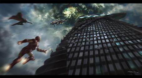 The Avengers- Alien Portal Final Battle by andyparkart