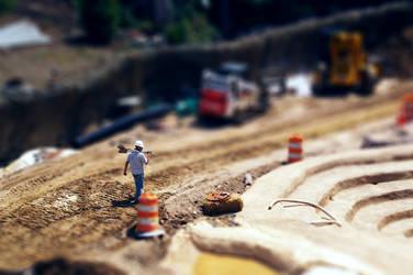 Construction Worker Tilt Shift by callegg