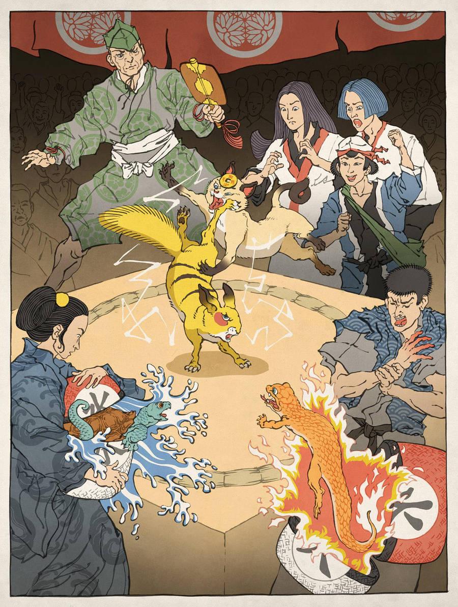 Pokemon as an Ukiyo-e by thejedhenry
