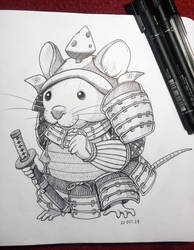Inktober 2018: 20 Samurai Mouse by Hituro