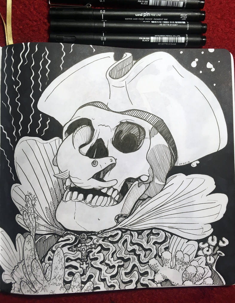 Inktober 2018: 27 Pirate Skull by Hituro