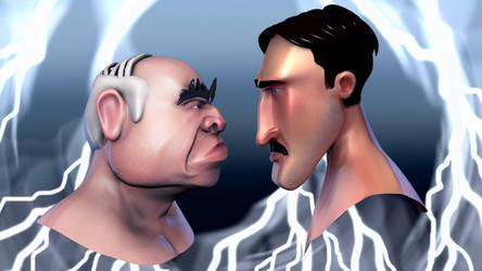 Tesla VS Edison by Skanarchy91