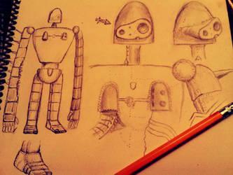 Concept Drawing - Laputa Robot by Grayhair