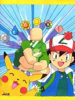 Ash Ketchum + Pikachu (Pokemon) by jajuruns90rebels