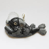 Angler Fish Steampunk Pendant by hatchinghut