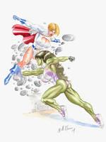 Power Girl vs She Hulk by TheRaytrix