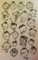 Perfectly normal human Zim faces by Naplez