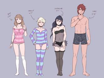 Concept Art - Height Comparison (Nightwear) by Teh-Dave
