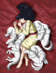 Kagome and the dog pile by LazyJenny