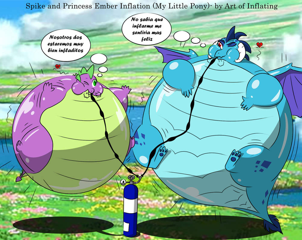 Spike And Princess Ember Inflation (m.l.p) By BlaueSeele