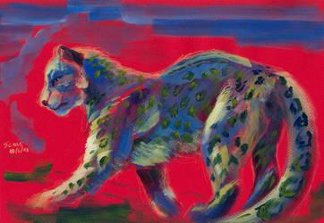 Snow leopard in red by Alessio-Scalerandi