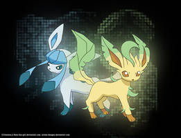 leafeon and glaceon by reno-fan-girl