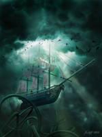 Flying Dutchman vs. Kraken by jantiff