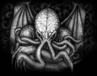The Great Cthulhu bw by jantiff
