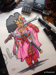 Afro-geisha samurai commission.... by KPhillips702