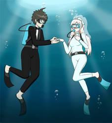 Hajime and Sonia's Underwater Wedding [Commission] by UW-FnarFnar