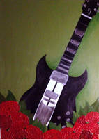Guitar and Roses - Painting by Stylsvig