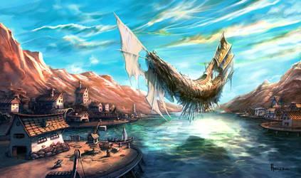 the Flying Ship at docks by Homeros-Gilani
