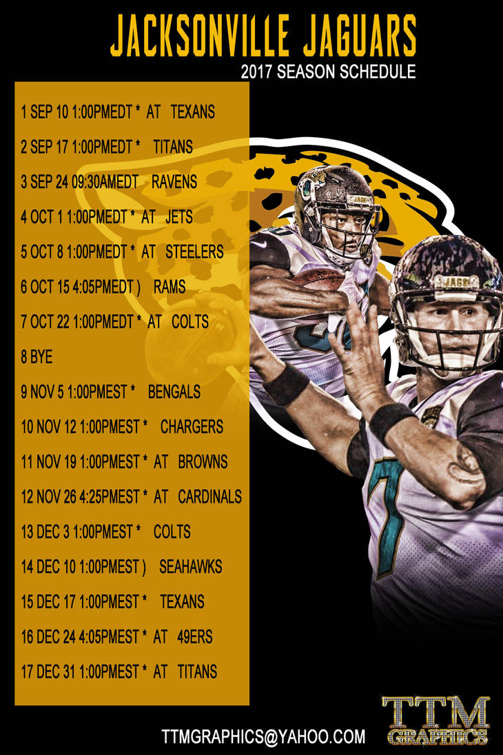 jacksonville jaguars 2017 season scheduletmarried on deviantart