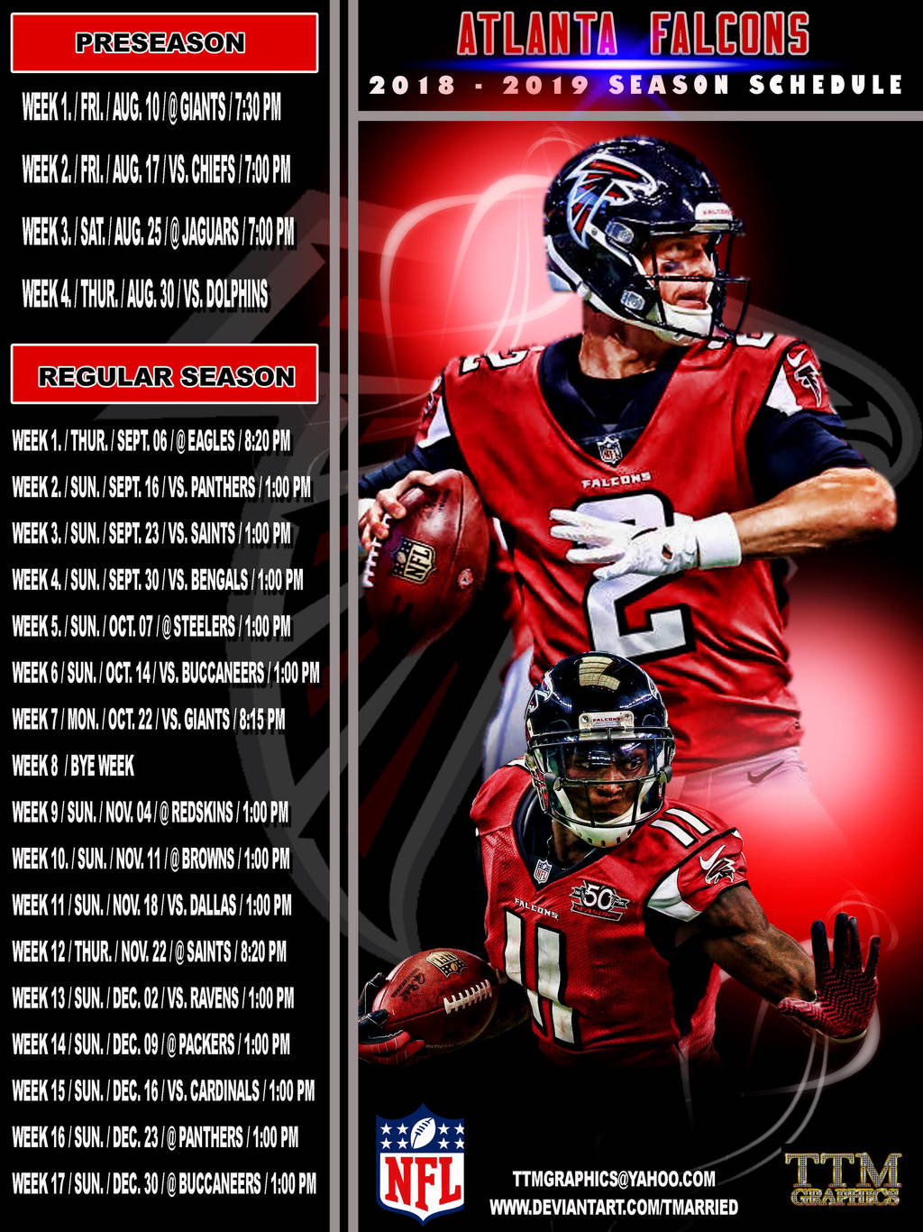 2018-2019 season schedule (atlanta falcons) by tmarried on deviantart