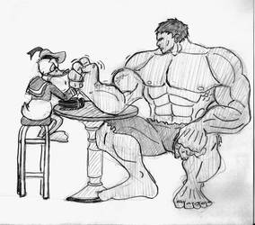 Duck vs Hulk by SamwiseTheAwesome