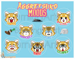 Aggretsuko: Mood Stickers by BurningArtist