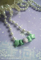 Glittery Shell Bow necklace by Nika-N