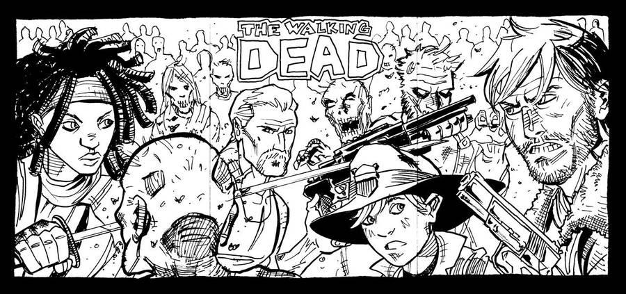 Walking Dead Sketch Cards by jessemunoz