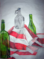 Red cloth and bottles by O-W-L