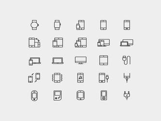 Device Vector Line Icons by graphicpear