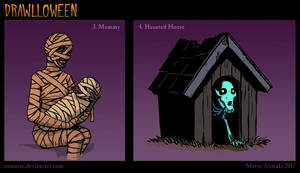 Drawlloween: Mummy + Haunted House by Osmatar