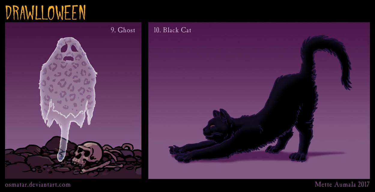 Drawlloween: Ghost + Black Cat by Osmatar