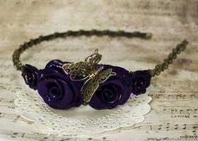 Purple Butterfly Rose Headband by Necrosarium