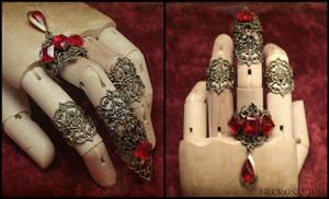 Jeweled Visual Kei Claw Ring Set by Necrosarium