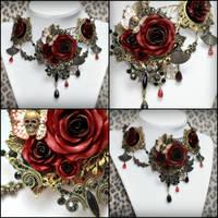 Versailles Rose Necklace 1 Multi View by Necrosarium