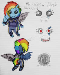 Warrior Rainbow dash (HTF parody) by NyshaRad12
