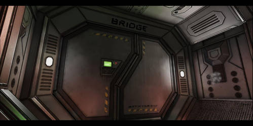 Sci-Fi spaceship environment - The Bridge Door by FoeJred