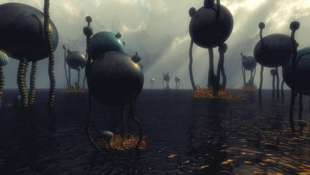 Alien Landscape Art by RichardjJones