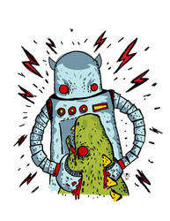 Angry Robot VS Fierce Monster by sampratot