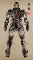 Ink painting iron man by ikuyoan