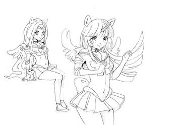 Doodles 4 (Fluttershy/Twilight as Sailor scouts) by Mofu-Chan