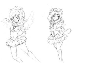 Doodles 5 (Rainbow Dash/Rarity as Sailor scouts) by Mofu-Chan