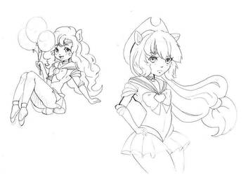 Doodles 6 (Pinkie Pie/Apple Jack as Sailor scouts) by Mofu-Chan