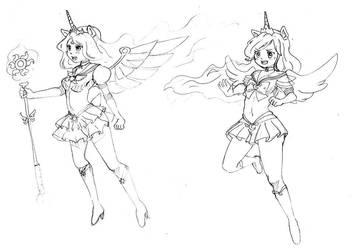 Doodles 6 (Celestia/Luna as Sailor scouts) by Mofu-Chan