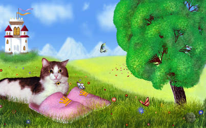 February: Cat in slippers by Lughnara