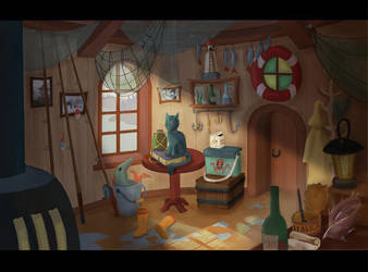 Concept House of fisherman (interior) by stasiyaalexandrova