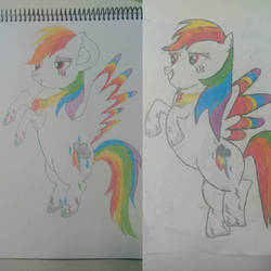 Redrawn my first drawing of Super Rainbow Dash by RainbowStiched
