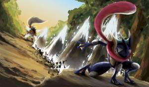Greninja VS Lycanroc by LomeSa-Art